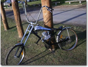 Stretch chopper bicycle with ape hangers