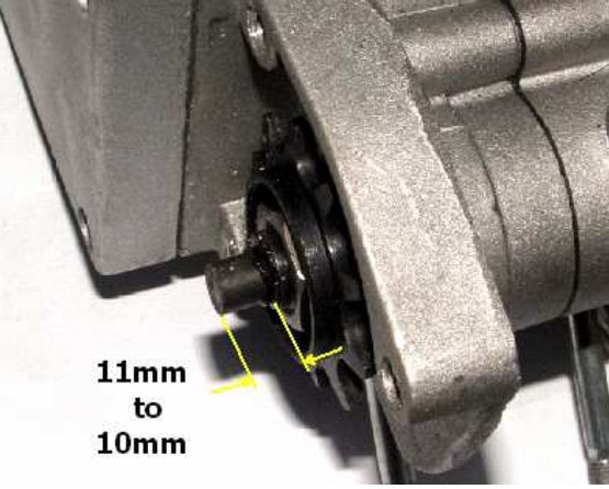 Clutch pin protruding from the chain drive sprocket