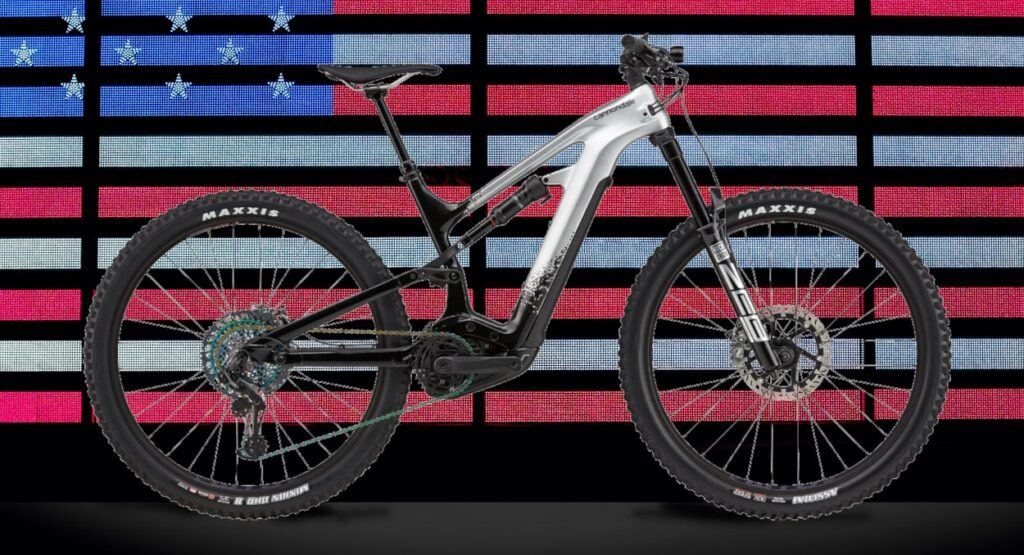 Cannondale electric mountain bike with American flag