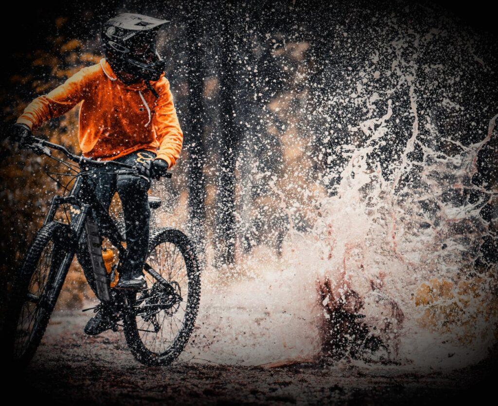 GIANT ebike splashing though water