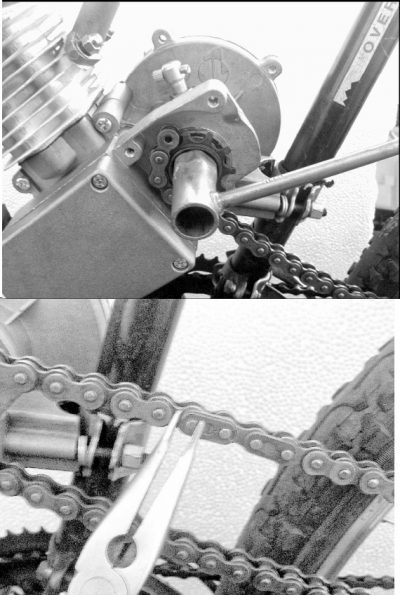 Fitting the chain to bicycle motor